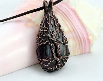 Pink Labradorite Tree of Life Pendant Raw Copper Wire Wrapped Blue Labradorite Cabochon with Satin Chain