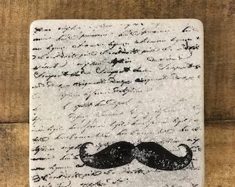 Mustache Stone Coasters, Tumbled Marble, Home Decor, Set of Coasters
