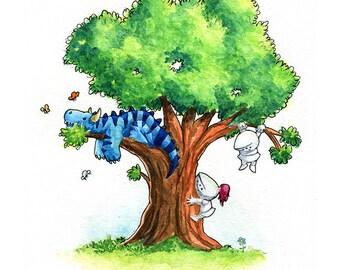Tree Dragon Watercolor Print