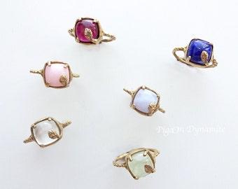 Garnet/Lapis Lazuli/Green Prehnite/Pink Opal/Moonstone/Lavender Agate Talisman Ring in Brass/14K Gold in Yellow, Pink and White