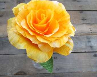 Yellow Striped Rose - Paper rose, Paper flower