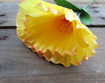 Yellow Poppy - Paper poppy, Paper flower