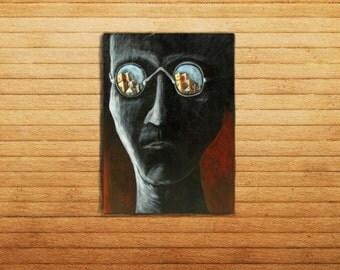 Monochromatic Portrait 'Harsh Days' Large Painting by Carlos F. Luzardo (Surreal Acrylic)