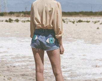 Vintage Hand Painted All-Seeing-Eye Denim Jean Cut-off Shorts