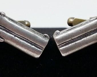 Pistol Gun Cufflinks, Silver Tone Metal Weapon Cuff Links, NRA,  Men's Women's Vintage Jewelry