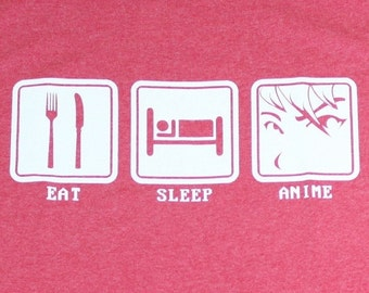 Eat Sleep Anime Funny Adult Mens T-Shirt Heather Red