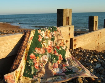 Floral Sofa Throw, Bed Cover, Travel Rug, Blanket, Lap Quilt backed with Liberty Fabric