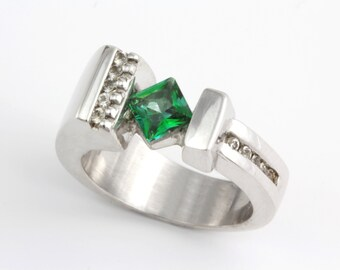 Green Topaz Ring, Silver Gemstone Ring, Statement Ring, Fine Silver Jewelry