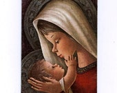 Vintage Christmas Greeting Card 1960s with Virgin Mary and Child Jesus scene - S99