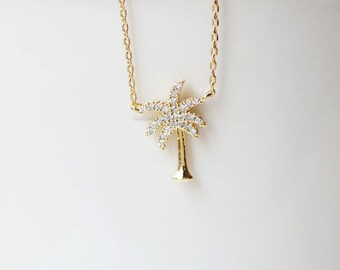 tiny crystal Palm Tree Necklace in gold, Dainty palm tree Pendant Necklace, wedding gifts, bridesmaid gifts, birthday gifts, gift ideas