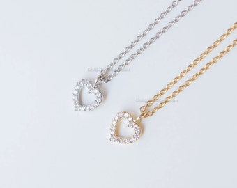 tiny heart necklace with cz, gold crystal open heart necklace, simple necklace, wedding, bridesmaid, birthday gifts