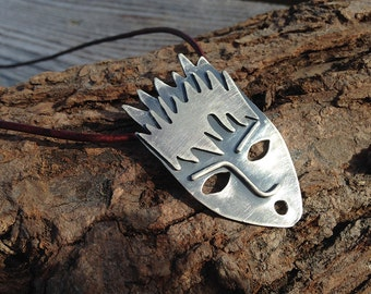 Scary Faces Series #3. Spirit of Water. Artisan Sterling Silver Pendant on Leather Cord. Rustic, Primitive, Raw, Spiky, Haloween.