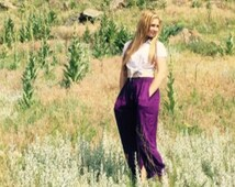 Comfy Purple Alladin Pants - Yoga Pants for Men & for Women (with Pockets)