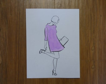 Vogue Chic Watercolor Fashion Painting