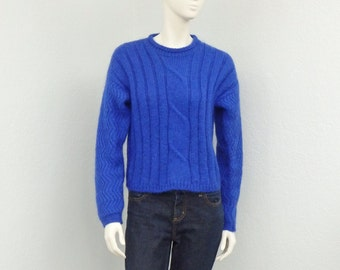Chunky hand knit crew neck sweater royal blue sweater bulky