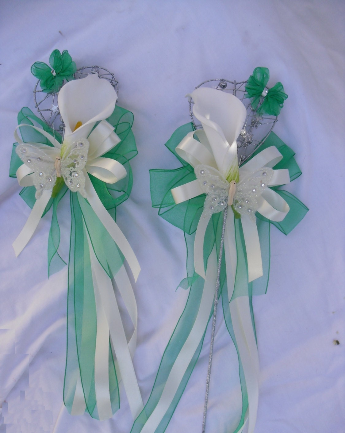 Flower Girl Wand With Flowers Silk Ribbon