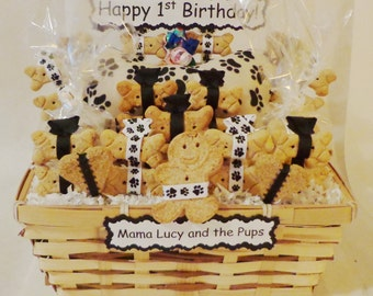 Dog biscuit treat dog gift basket - dog birthday - new puppy gift - dog get well gift - paw print - personalized dog gift