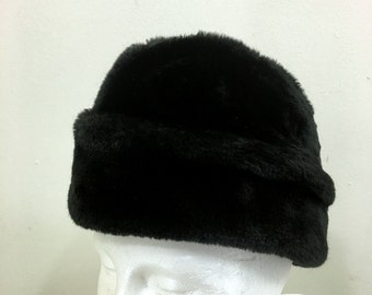 Black Faux Fur Ambassador Russian Winter Hat