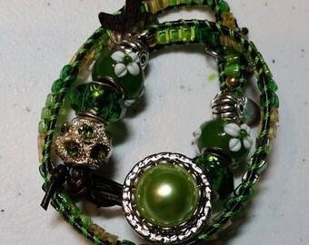SALE! 35% OFF! Wrap Bracelet Silver Green #309