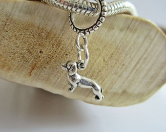 Dachshund Mini European-Style Bracelet Charm and Leather or Sterling Silver Bracelet