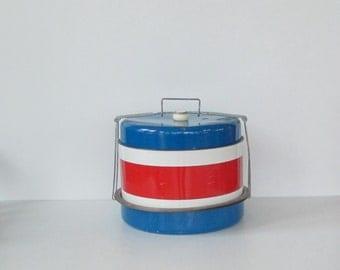 Vintage Metal Pie Cake Food Carrier, 1960s Red White Blue Triple Decker Travel, J.L. Clark 3 Tier Food Transport Traveler