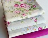 Princess Rose Fat Quarter bundle - Lecien, floral purple fabric bundle, shabby chic, romantic, floral fabric, solid, grey, 4 piece bundle