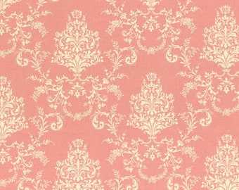 Rococo Sweet pink damask cotton fabric - Lecien - shabby chic, cottage chic, pink damask, cotton fabric