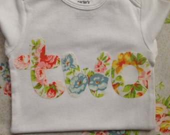 2nd Birthday Outfit Girl | 'two' Shirt || PICK YOUR FABRIC || Vintage~Style Garden Tea Party Birthday Bodysuit | 2 Year Old Girl Gift |