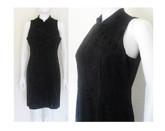 Black Cheongsam sleeveless Dress / sz Large Women's 90's clothing