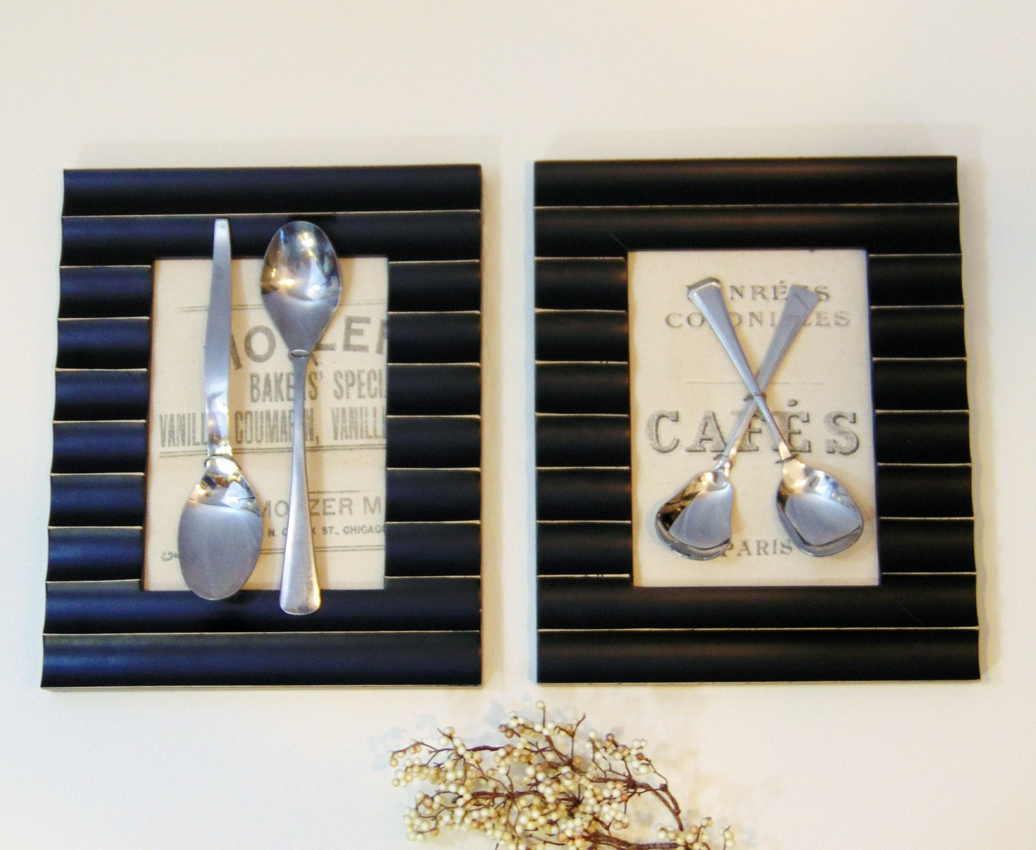 Modern vintage silverware framed wall art with typography for Dining room vintage wall art