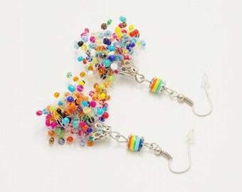 Funny gift colorful earrings lesbian earrings rainbow earrings funny earrings gay parad lgbt earrings beadwoven earrings whimsical earrings