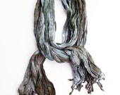 "Sage green scarf - rayon scarf - crinkle scarf - fall scarf - fringe scarf - sage green, olive green, rust, taupe - hand dyed - 20""x70"" (b)"