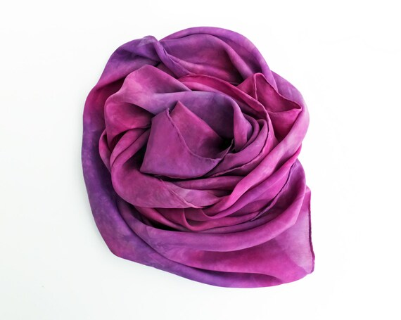 "Purple silk scarf - china silk - plum, purple, magenta, fuchsia, grey - hand dyed - 13"" x 68"" - medium"