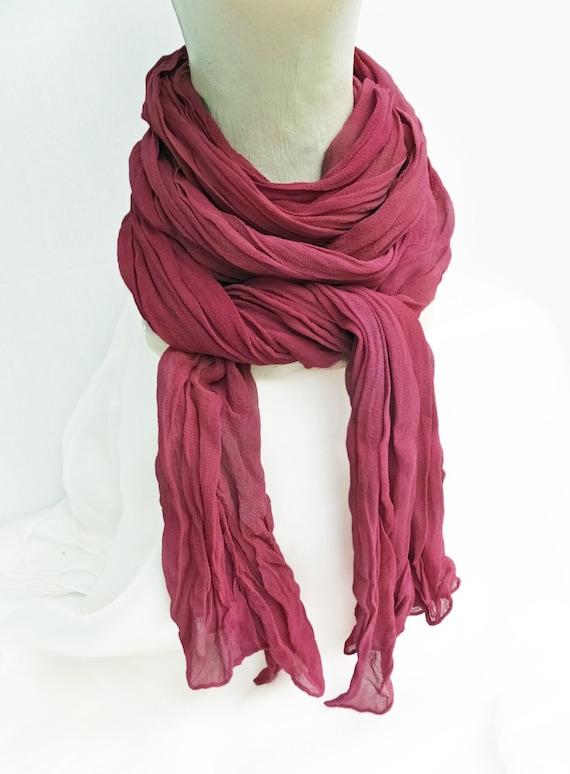 """Burgundy scarf - maroon scarf - silk chiffon scarf - fall scarf - crinkle scarf - burgundy, maroon, wine, cabernet - large - 17"""" x 74""""-LARGE"""