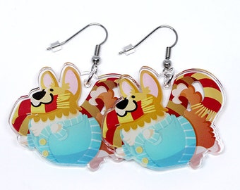 Cardigan Corgi Earrings, Cute Corgi, Corgi Gift, cute dog earrings, cardigan welsh corgi, dog lovers, corgis, corgies, kawaii