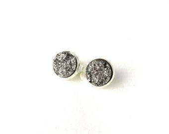 Druzy earrings - Druzy Ear Clips - Glitter Clips - Sparkly Brass Clips - Faux Druzy Earrings - Druzy Clip On Earrings - Silver Druzy Earring