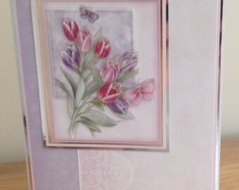 Birthday Card.  Thank You Card.  Get Well Card.  Ladies or Girls 3D Decoupage Card With Spring Tulips And Gold And Silver Foiling.