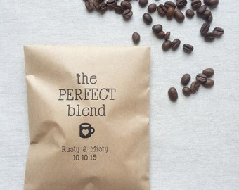 50 Coffee Favor Bags - The Perfect Blend Coffee Bags - Kraft Wedding Paper Bags