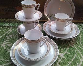Karlskrona Porcelain Snack Set Epsala Ekeby Gold Trim Four Place Settings Sweden