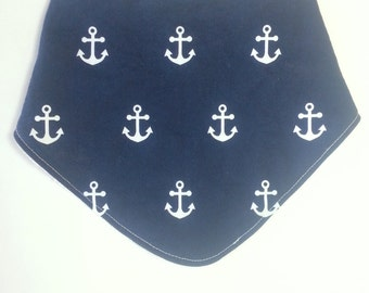 Navy and White Anchor Dribble Bib
