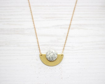 Semicircle Marble Moon Brass Necklace