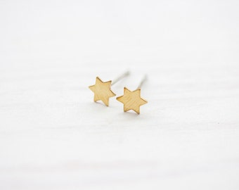 Minimal Brass Star Studs