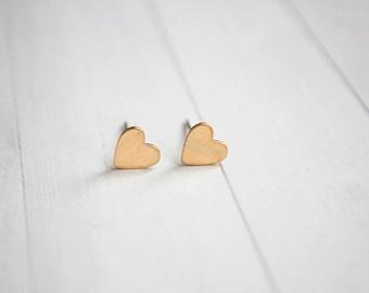 Minimal Brass Hear Stud Dainty Earrings