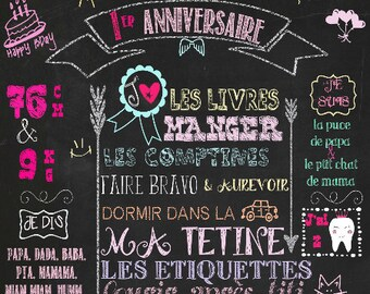Chalkboard poster first anniversary baby/adult