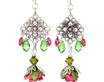 Victorian Look Polymer Clay Rose Earrings, Swarovski Crystal Briolettes, Antiqued filigree, Set Rose Crystals, Boho Chic, Floral Jewelry