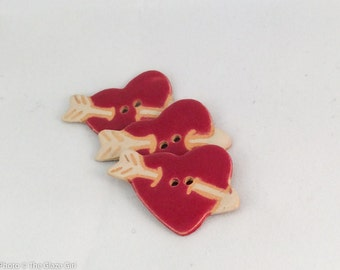 Ceramic Buttons - Red Heart Buttons with arrow - sold individually