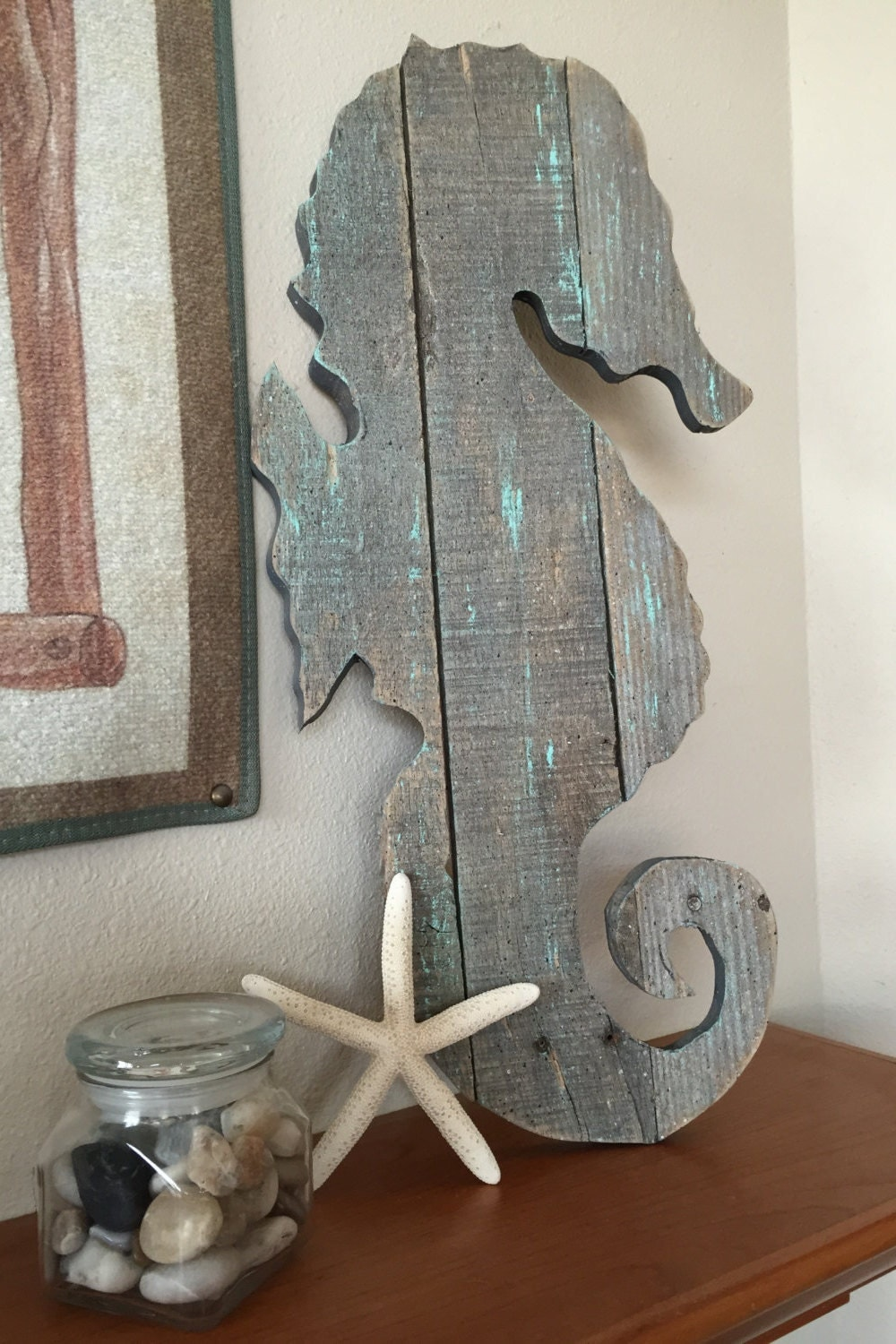 large seahorse wall art ocean decor handmade from. Black Bedroom Furniture Sets. Home Design Ideas