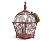 Pink Birdcage With Tassel. Romantic French Hanging Bird Cage.