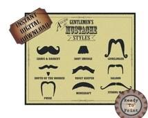 Mustache Styles Printable Old West Barber Shop Steampunk Victorian Sign - Funny Mustache Names - Gunslinger - Strong Man - Vault Keeper