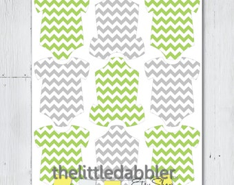 Green Grey Chevron Mini Baby Shower Onesie Tags - Baby Shower One Piece Thank You Favor Gift Tags, Mini Onesie Place Setting - Printable PDF